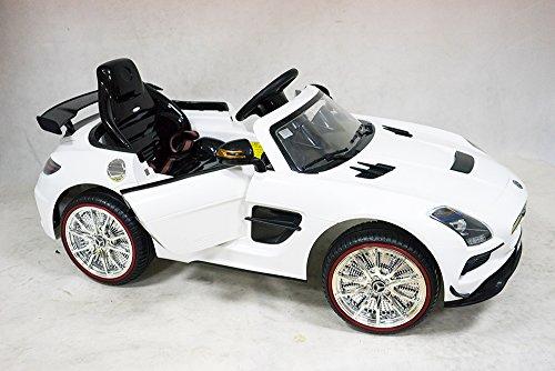 Original Mercedes SLS AMG Noir Series Voiture pour Enfants Voiture électrique enfants Véhicule 12V 2x Moteurs en blanc ou Rouge - Blanc