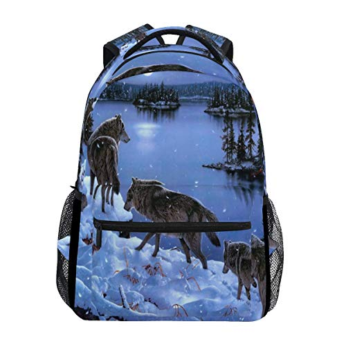 poiuytrew Snow Wolves Backpack Students Shoulder Bags Travel Bag College School Backpacks