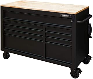 Husky 52 in. x 24.5 in. D 9-Drawer Mobile Workbench with Adjustable Height Solid Wood Top in Matte Black