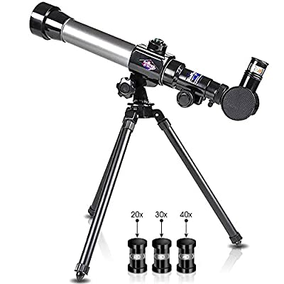 ArtCreativity Telescope for Starters - Includes Tripod Stand and 20x, 30x, 40x Eyepieces - Expensive Birthday Gifts for Kids Ages 3+