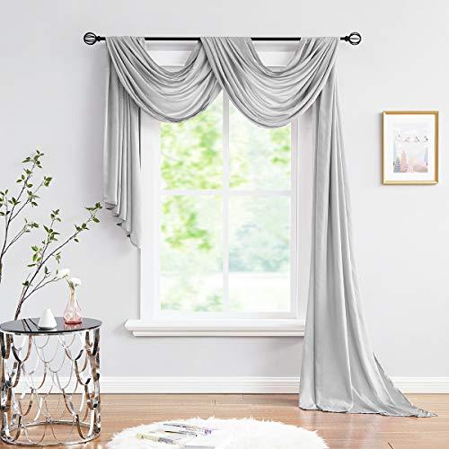 "Fmfunctex Sheer Grey Scarf Curtain for Living-Room Silky Soft Semi-Sheer Window Valance for Bedroom 52"" x 216"" 1 Panel"