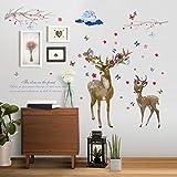 Sweet elk etiqueta de la pared cartel de la pared romántica sala de estar dormitorio decoración sofá fondo pared decal60X90