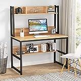Tribesigns Bureau d'ordinateur Bureau en Bois Bureau d'étude avec clapier et étagère pour Petit Espace, 107cm x 50cm x140cm (doré)