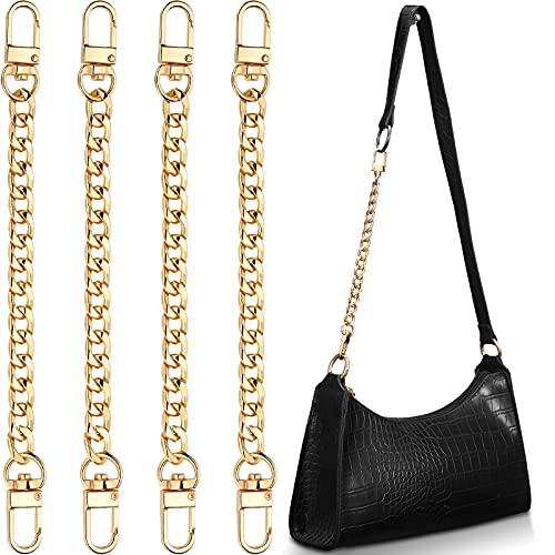 4 Pieces Purse Chain Strap 7.9 Inch DIY Flat Chain Strap Purse Strap Extender Handle Bag Accessories Charms Decoration for Purse Handbags Shoulder Bag (Gold)