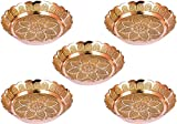 diollo Nakshi Plate Handmade Brass Indian Puja Plate Worship Spiritual Gifts Pack of 5