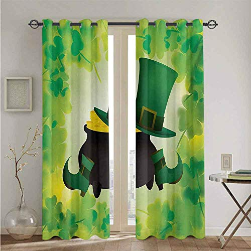 "St. Patricks Day Grommets Curtain for Kitchen Window Leprechaun Hat and Shoes Costume with Pot of Gold with Shamrock Leaves Suitable forThe best choice for bedroom and living room W84"" x L96"" Forest"