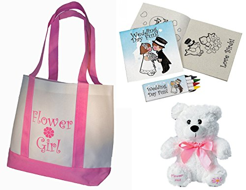 Best Flower Girl Gifts Set: Tote Bag, Teddy Bear, Wedding Day Kids...