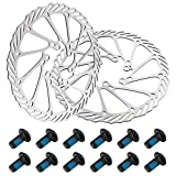 solawill 2 Piezas Rotor de Freno de Bicicleta, con 12 Tornillos Bicicleta de Freno de Disco Bike MTB Disc Wave Disco de Disco de Freno para Universal Bicicleta de Carretera Bicicleta de montaña