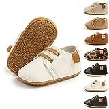 BiBeGoi Zapatos de piel sintética con cordones antideslizantes suela de goma suave para niños y niñas, color Negro, talla 6-12 meses