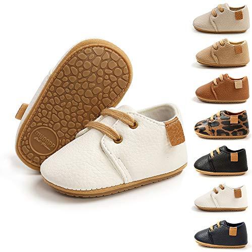BiBeGoi Zapatos Oxford de piel sintética con cordones antideslizantes y suela de goma suave para bebés y niños, color Negro, talla 6-12 meses