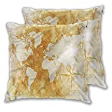 Mannwarehouse Compass Square Throw Pillow Cover, Old Fashioned World Map Soft and Cozy, Wrinkle Resistant Comfy and Lovely Cushion Cover for Couch Bench 2PCS - W24 x L24 inch