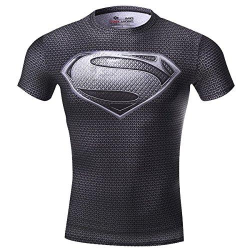 Cody Lundin Herren Kompression Rüstung Amerika Held Logo Fitness Laufen Sport Kurzarm, Superman Grau, M