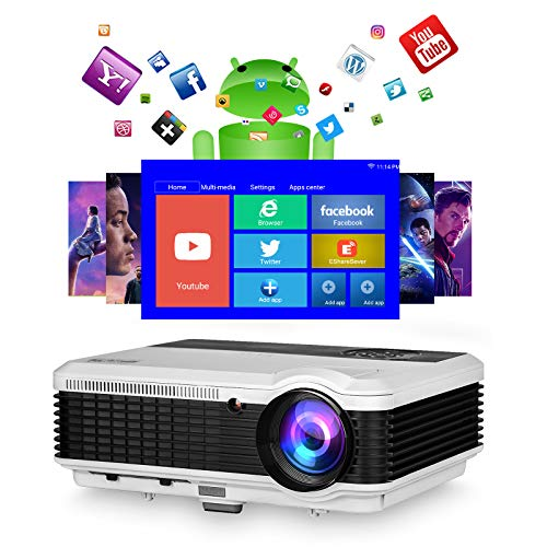 Wireless Bluetooth WiFi Video Projector,5000 Lumen Full HD Outdoor Movie Home Cinema Theater Smart LCD Projector 1080P Screen Mirroring Zoom Gaming for HDMI USB TV Stick Laptop Android Phone DVD PS5