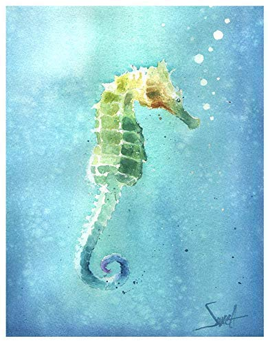 Amazon Com Watercolor Seahorse Art Print From Original Painting Handmade