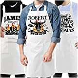 Kitchen Apron Gift for Father's Day - Personalized Grill Aprons w/Pockets w/Name Gifts for Dad Father Men for Grilling Cooking BBQ Baking - Customized Funny Chef Apron for Grandpa Daddy, Birthday C1