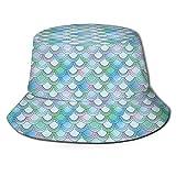 FULIYA Sombrero de cubo de poliéster,Japonés sobre fondo azul temporada de primavera,Sombrero de verano al aire libre plegable Cap viaje playa sol sombrero