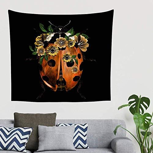 QIAO Bohemian Beautiful Ladybird Flowers Sect Animal Art Tapiz para Colgar en la Pared Tapiz Retro Vision Headboard Fondo pa?o