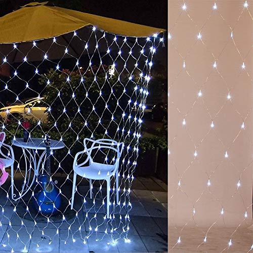 Netz-Lichterkette, 1,5 m x 1,5 m, 100 LEDs, für den Innen- und Außenbereich, mit Fernbedienung und Timer, 8 Modi, batteriebetrieben, für Garten, Fenster, Baum, Hochzeit, Party, Dekoration (kaltweiß)