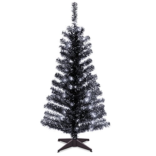 National Tree Company Pre-lit Artificial Christmas Tree | Includes Pre-strung White Lights and Stand | Black Tinsel - 4...