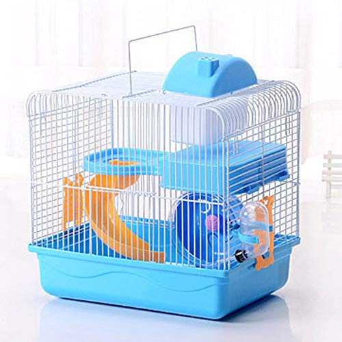 2-Tier Portable Travel Cage for Small Animals, Dwarf Hamster Travel Carrier with Carry Handle Exercise Wheel Kettle Food Dish, 10.6 x 8.2 x 11.8 Inch (Blue)