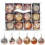 Weihnachtskugeln,Koqit 12 TLG. 6cm Reusable Christbaumkugeln Weihnachtsbaumschmuck Bruchsicher Plastik Ornament mit Anhänger für Party Weihnachtsdeko Elfen Thema Golden