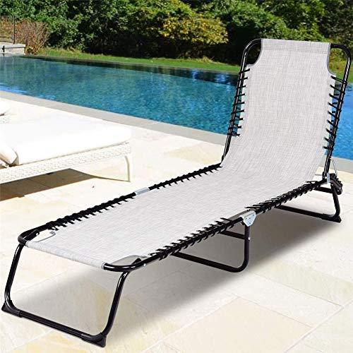 ZDYLM-Y Chaise Longue Pliante, Chaise Pliante inclinable à Cadre en Acier avec 3 Positions inclinables, pour terrasse au Bord de la Piscine