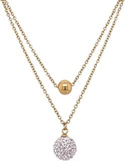 Bevilles Yellow Stainless Steel Crystal Ball Double Necklace