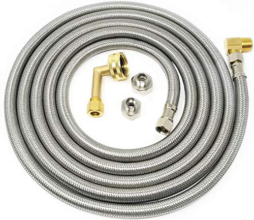 "Kelaro Universal Stainless Steel Dishwasher Hose Kit (10 Ft) Burst Proof Water Supply Line with 3/8"" Compression Connections - Lead Free"