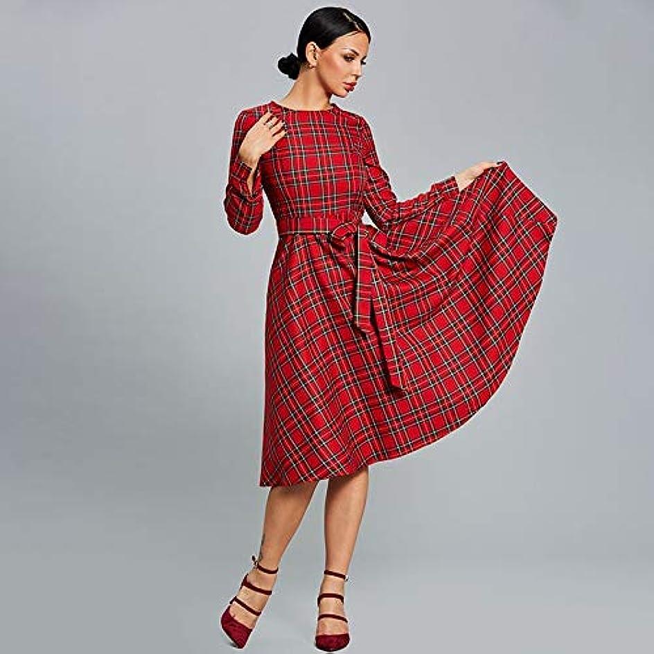 カラス鋭く鷲Onderroa - 女性のドレス秋のタータンチェックレッドパーティードレスOネックロングスリーブパッチワークラインデー2018女性の厚いヴィンテージドレス