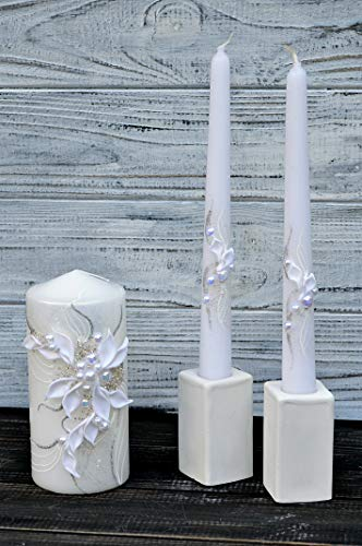 Magik Life Unity Candle Set for Wedding - Wedding décor & Wedding Accessories - Candle Sets - 6 Inch Pillar and 2 10 Inch Tapers - Best Unity Candle