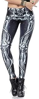 Skeleton Leggings Halloween Costume for Women Black Footless Tights Workout Legging High Waist Skull