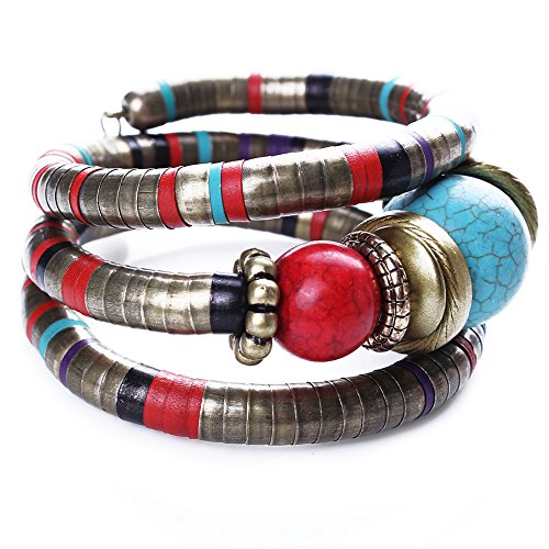 Unbekannt Extravaganter Armreif Tibetisch Perlen Armband Antik Türkis Rot