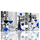Kitchen Pictures Wall Decor Blue Kitchen Pictures Artwork for Home Walls Decorations Black and White Bottle Red Rose Wine Glass 3 Pieces Canvas Wall Art for Dining Room Gallery Wrapped 12x16inchx3pcs