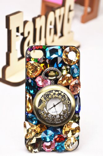 FancyG Elegant Luxury 3D Bling Colorful Diamond Crystal Vintage Style Pocket Watch Back Cover Case Fit for iPhone 4 4S Beautiful and Unique Best For Gift