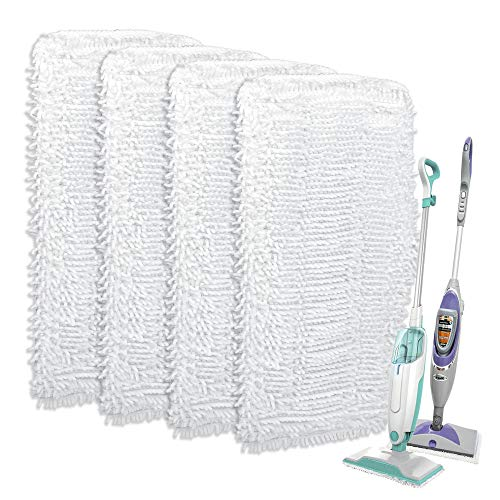 F Flammi Replacement Mop Pad Compatible with Shark Steam & Spray Mop SK410, SK435CO, SK460, SK140, SK141, S3101,S1000, S1000A, S3250, S3251 Microfiber Washable Cleaning Pads (4 Pack)