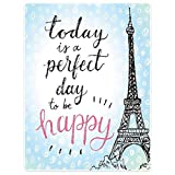 40x50 Blanket Comfort Warmth Soft Plush Throw for Couch Eiffel Tower Perfect Day Polka Dot Handwriting Paris