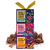 GORGEOUSLY BOXED GIFT - Curiously moreish double dusted vegan chocolate truffles packaged in beautiful gift boxes with three luxury flavours. One to keep and two to share? Each box is uniquely decorated with the beautiful and fantastical world of Mon...