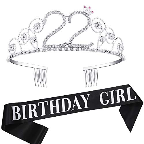 Coucoland Geburtstag Krone mit Geburtstag Schärpe Satin Birthday Crown and Sash Set Geburtstagsdeko Geschenk für Damen Geburtstag Party Accessoires (22 Jahre alt - Silber)
