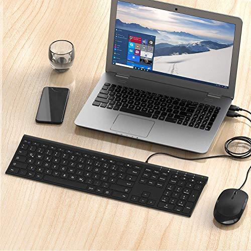 Jelly Comb Tastatur und Maus Kabelgebunden, Ultra Dünn Tastatur und Maus mit Kabel aus Aluminiummaterial - Deutsches QWERTZ Layout - für Laptop, PC und Smart TV (Schwarz)