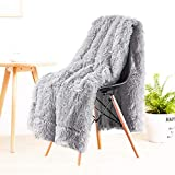 LOCHAS Super Soft Shaggy Faux Fur Blanket, Plush Fuzzy Bed Throw Decorative Washable Cozy Sherpa Fluffy Blankets for Couch Chair Sofa (Light Grey 50' x 60')