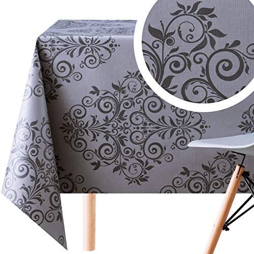 KP Home Nappe en toile cirée rectangulaire en PVC, motif damassé oriental, Toile cirée en vinyle PVC., gris foncé, 200x140 cm