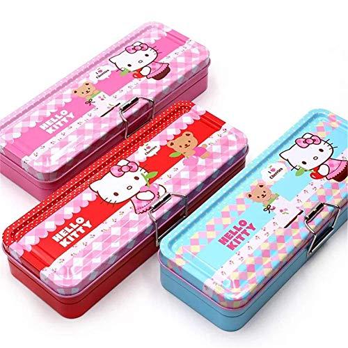 Hello Kitty Girl Pencil Tin Box Two Layer Student Cute Cartoon Pencil Case (Pink)