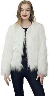 Dikoaina Women's Solid Color Shaggy Faux Fur Coat Jacket