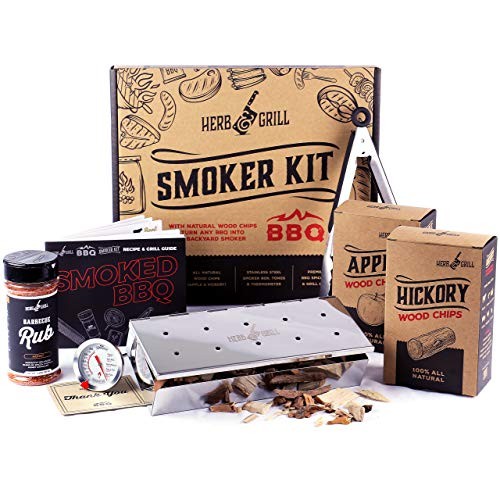 Herb & Grill BBQ Grilling Gift for Men | 7 Piece Set | Wood Chip Smoker Box Honey Rub, Tongs, Cooking Dad, Temp Magent