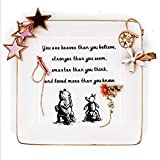 onederful Inspirational Winnie The Pooh Quotes and Saying Ring Jewelry Holder Dish for Sister Friends Girl Daughter Room Bedroom Decor