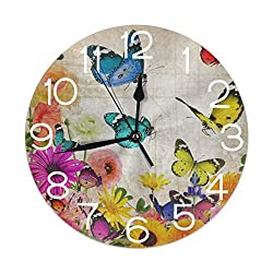 Round Wall Clock Vintage Floral Butterfly Sunflower Daisy Flower Silent Non Ticking Decorative Clocks Battery Operated Desk Clocks for Home