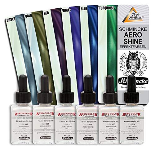 6er Airbrush Schmincke Shine Effekt Farben, für Airbrush Kompressor, Airbrush Pistole, Aero Color Professional, Schmincke 28ml - ideal für Nail Art - geignet auch für Modellbau usw.