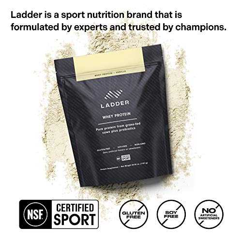 LADDER Sport Whey Protein Powder - 26g Protein, 7g BCAAs, 14g EAAs, 2 Billion CFU Probiotics, No Artificial Sweeteners, 30 Serving Bag, NSF Certified for Sport (Vanilla)