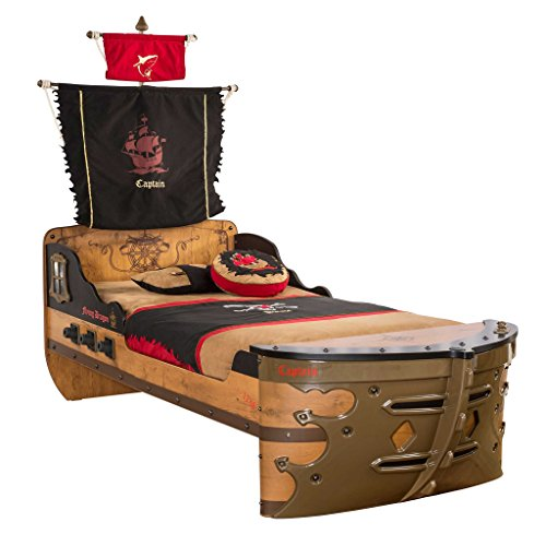 Cilek 20.13.1317.00 Pirate Ship Children Bed Frame, Brown, Twin