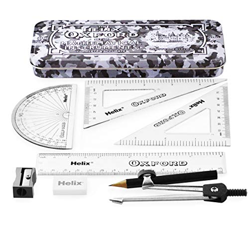 Helix Oxford Camo Maths Set - 9 Piece Set - Set Squares, Protractor, Ruler, Eraser, Sharpener, Compass and Pencil - Limited Edition